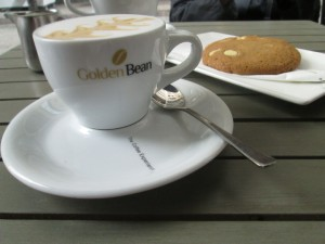 Coffee and cookie at the Golden Bean in Luxembourg