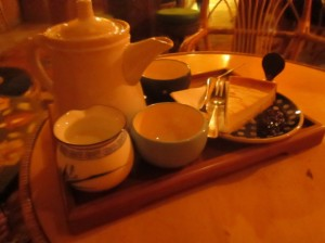 Tea and homemade cheesecake at 1000 Tea in Budapest