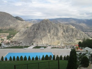 Pool and view at Apple Palace Hotel in Amasya