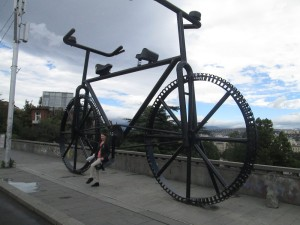 Big bike sculpture in Tbilisi