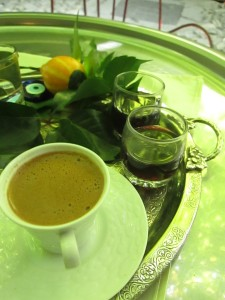 Turkish coffee and grape juice