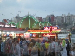 Hubbub by the fish boats at Galata Bridge