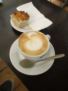 Coffee and poppy seed cake at Lumen Cavezo in Budapest