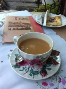Home made cheesecake with your tea in Sighisoara