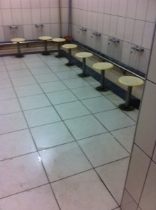 Foot wash stools in men's toilets Istanbul