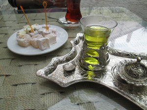 Saffron Tea with Turkish Delight