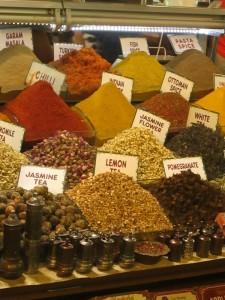Teas in spice market Istanbul