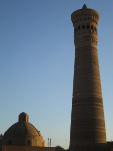 Bukhara minaret at sunset
