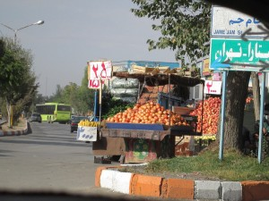 Pomegranates off the back of a truck in Iran
