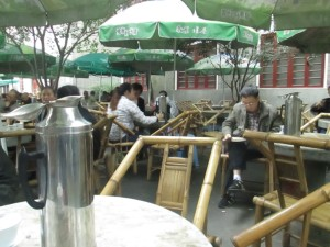 Reading over tea in Chengdu's People's Park