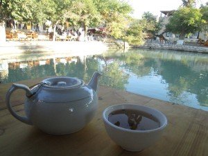 Tea by the 17th century pool in Bukhara
