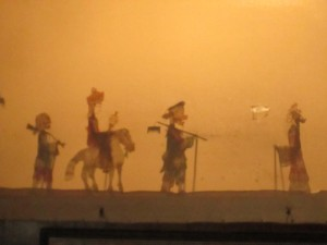 Shadow puppets on the screen in Xi'an