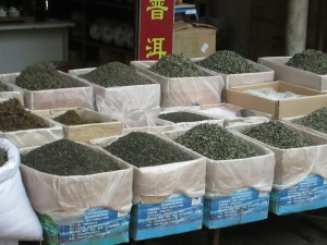 Tea piled high in Jinshi market, Kunming