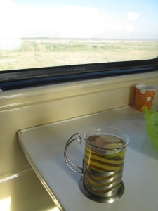 Tea in the Sharq Express in Uzbekistan