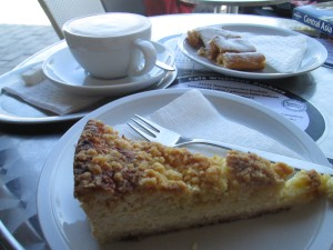 Cake and coffee in Bukhara at Wishbone Cafe