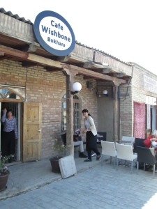 Outside Wishbone Cafe in Bukhara