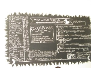 Menu board at The Little Red Fox coffee shop in Siem Reap