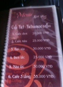 Coffee menu at Homemade Coffee in Hanoi