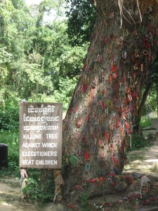 The killing tree at the Killing Fields near Phnom Penh