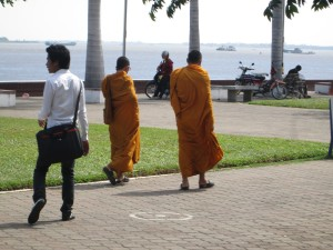 Monks on the road in Cambodia