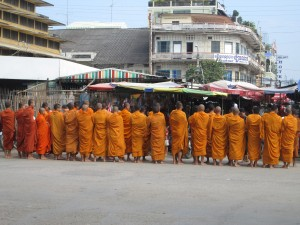 Monks in Battambang market