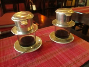 Preparing our first Vietnamese coffee in Sapa