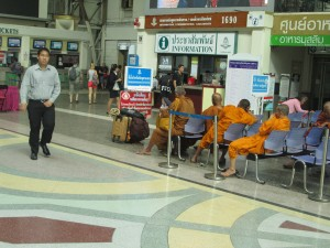 Reserved seats for monks at Bangkok station