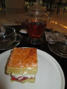 Victoria Sponge with tea in Kuala Lumpur