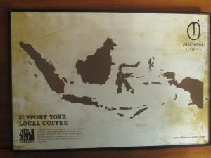 Indonesian coffee map