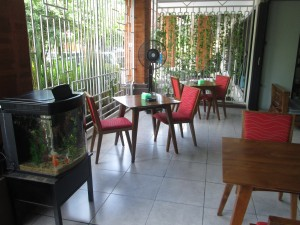 Outside seating at Playboy's Coffee House in Denpasar