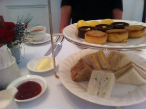 Cream and jam without scones for afternoon tea at Raffles in Singapore