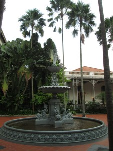 Fountain in grounds of Raffles in Singapore