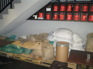 Sacks of coffee at Tanamera Coffee in Jakarta